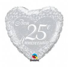 Mylar Balloon Bon 25e Anniversaire by Qualatex