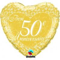 Ballon Mylar Bon 50e Anniversaire de Qualatex