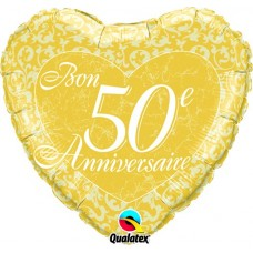 Mylar Balloon Bon 50e Anniversaire by Qualatex