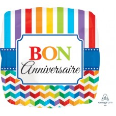 Mylar Balloon Bon Anniversaire Rainbow Stripes and Chevrons by Anagram
