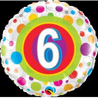 Ballon Mylar Pois Coloré Numéro 6 de Qualatex