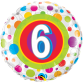 Mylar Balloon Colorful Dots Number 6 by Qualatex