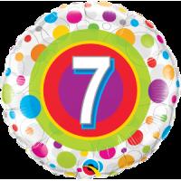 Ballon Mylar Pois Coloré Numéro 7 de Qualatex