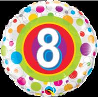 Ballon Mylar Pois Coloré Numéro 8 de Qualatex