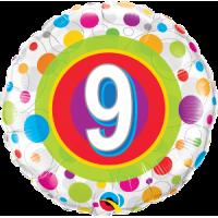 Ballon Mylar Pois Coloré Numéro 9 de Qualatex