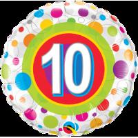 Ballon Mylar Pois Coloré Numéro 10 de Qualatex