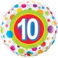 Mylar Balloon Colorful Dots Number 10 by Qualatex