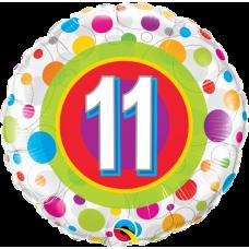 Ballon Mylar Pois Coloré Numéro 11 de Qualatex