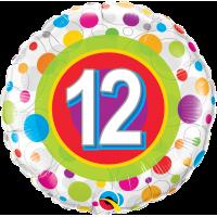 Ballon Mylar Pois Coloré Numéro 12 de Qualatex
