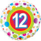 Mylar Balloon Colorful Dots Number 12 by Qualatex