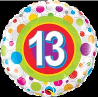 Ballon Mylar Pois Coloré Numéro 13 de Qualatex