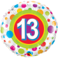 Mylar Balloon Colorful Dots Number 13 by Qualatex