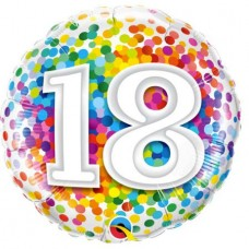 Ballon Mylar Confetti Numéro 18 de Qualatex