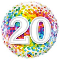 Ballon Mylar Confetti Numéro 20 de Qualatex