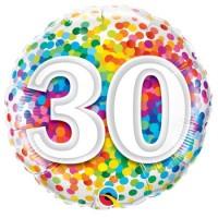 Ballon Mylar Confetti Numéro 30 de Qualatex