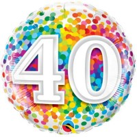Ballon Mylar Confetti Numéro 40 de Qualatex