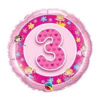 Ballon Mylar Numéro 3 Rose Fées de Qualatex