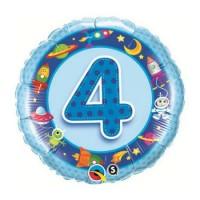 Ballon Mylar Numéro 4 Bleu Fusée de Qualatex