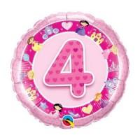 Ballon Mylar Numéro 4 Rose Princesses de Qualatex