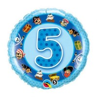 Mylar Balloon Number 5 Pirates Blue by Qualatex