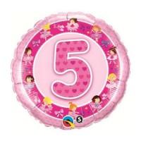 Ballon Mylar Numéro 5 Rose Ballerines de Qualatex