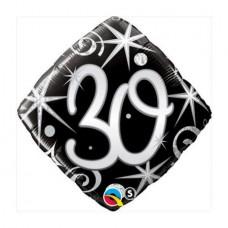Ballon Mylar Élégant Numéro 30 de Qualatex