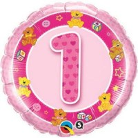 Ballon Mylar Numéro 1 Rose Nounours de Qualatex