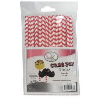 Lollipop Sticks - Paper Straws - Red Chevron - by CK Products