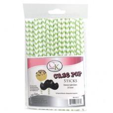 Lollipop Sticks - Paper Straws - Green Chevron - by CK Products