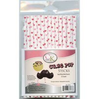 Lollipop Sticks - Paper Straws - Pink & Red Hearts - by CK Products