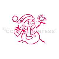 Stencil Drawn with Character Snowman with Bird Paint Your Own by The Cookie Countess