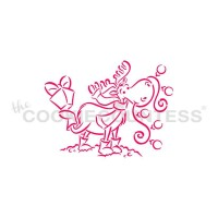 Stencil Drawn with Character Moose with Present Paint Your Own by The Cookie Countess