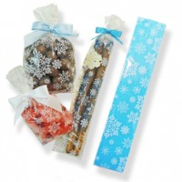Pretzel Rod Poly Bag 2'' x 10'' - Clear with White Snowflakes