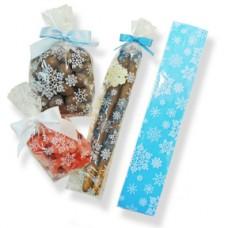 Pretzel Rod Poly Bag 2'' x 10'' - Clear with White Snowflakes