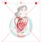 Stencil Mother Holding Child in Heart Silhouette by Maman Gato & Cie