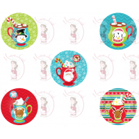Cupcake Toppers - Hot Drinks for Christmas by Maman Gato & Cie
