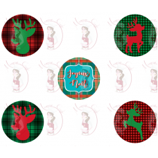 Cupcake Toppers - Buffalo Plaid Deer Silhouette by Maman Gato & Cie