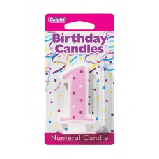 1st Birthday Rose Candle by Culpitt
