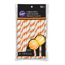 Lollipop Sticks - Paper Straws - Orange - by Wilton