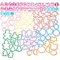 Alphabet, Numbers and Holiday Plastic Cookie Cutters Set by Wilton