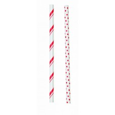 Lollipop Sticks - Paper Straws - Red Stripes and Dots - by Wilton
