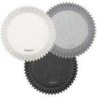 Paper Baking Cups White, Black & Grey by Wilton