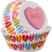 Paper Baking Cups White with Conversation hearts by Wilton