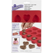 Stack-N-Melt Silicone Heart Candy Mold, 12-Cavity by Wilton