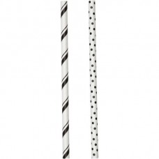 Lollipop Sticks - Paper Straws - Black Stripes and Dots - by Wilton