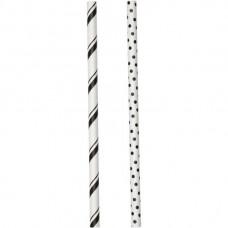 Bâtonnets à sucettes - Pailles en papier - Noir Ligné et Pois - de Wilton